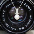 Girocollo in oro bianco 18kt con perla e diamanti