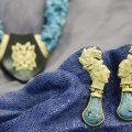 Orecchini maya in oro giallo 18 kt con turchese